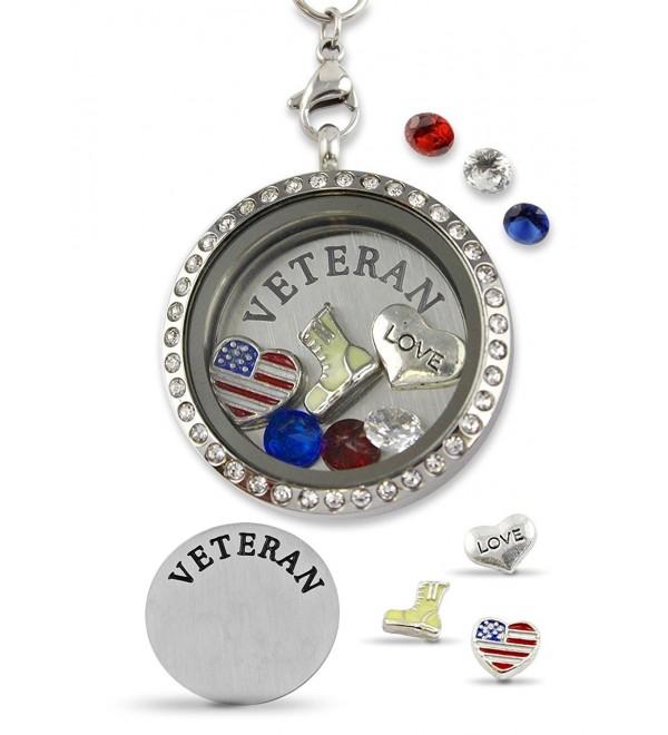 Floating Locket Magnetic Stainless Necklace - Love Army Veteran - C617AZ6YURI