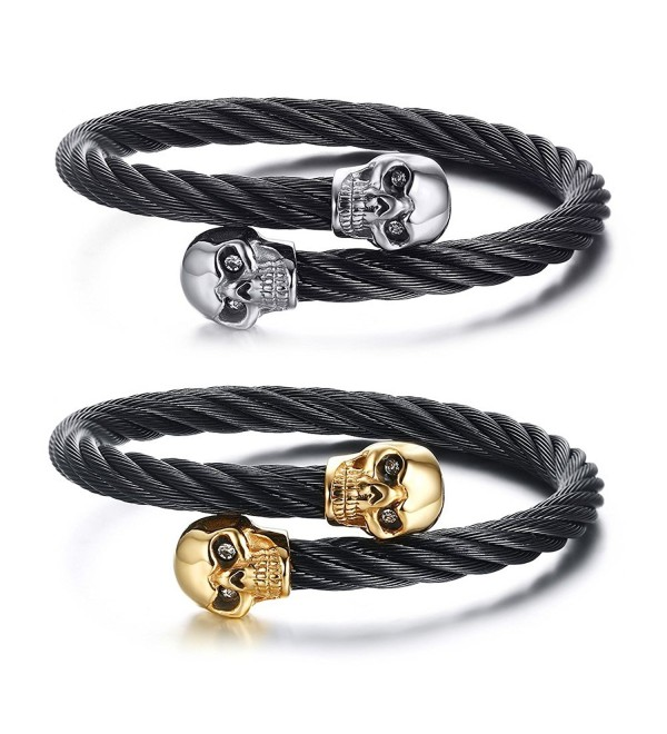 Vnox Stainless Steel Punk Skull Cable Wire Open Cuff Bangle Bracelet for Men Women - CU1859E4D7X