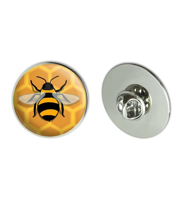 "Bee on Honeycomb Metal 1.1"" Tie Tack Hat Lapel Pin Pinback - CU186I3CMXM"