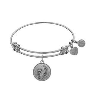 "Angelica Collection Non-antique Stipple Finish Brass ""barefoot in the Sand"" Expandable Bangle - White - CF11JRW8MR7"