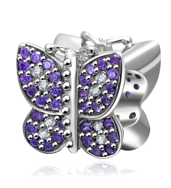 Butterfly Charm with Purple CZ 925 Sterling Silver Animal Charm for European Charms Bracelet - C212NH86SW1