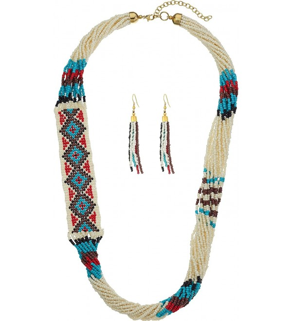 M&F Western Womens Beaded Multi Strand Necklace/Earrings Set - Multi - CY12FVLA9GN