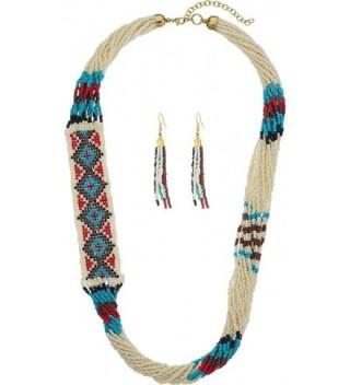 M&F Western Womens Beaded Multi Strand Necklace/Earrings Set - Multi - CY12FVLA9GN