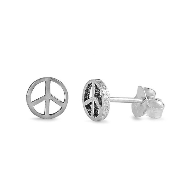 Sterling Silver Peace Sign Stud Earrings - C111DDG8L0V