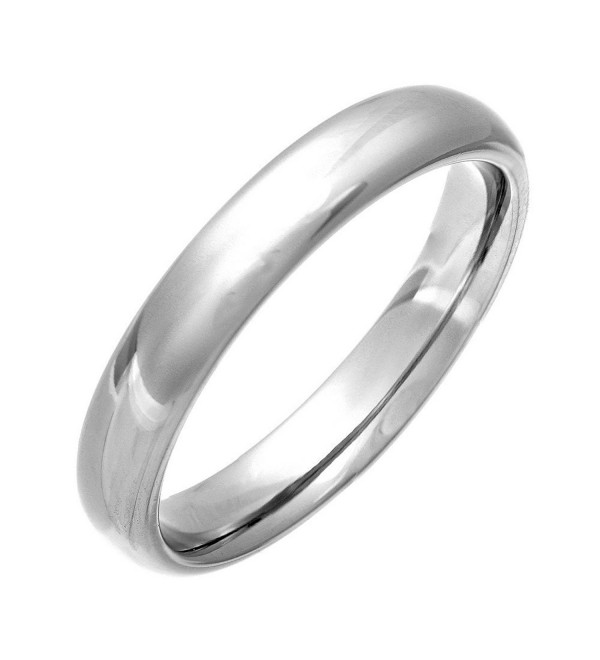 4mm Titanium Womens Plain Dome Polished Wedding Band Ring Size 4-9 - CJ12O5I9GI6