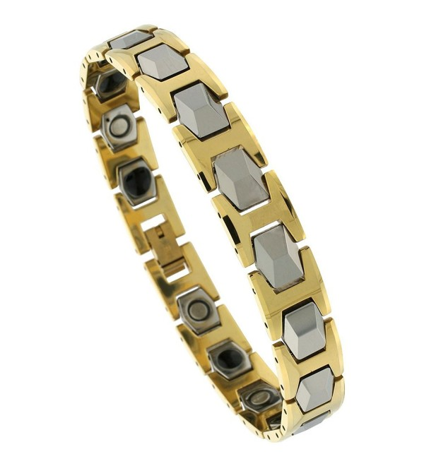 Tungsten Carbide Bracelet Magnetic Therapy- 2-Tone Gold & Gun Metal Faceted Hexagon Links- 1/2 inch wide- - CE115K1I9SL