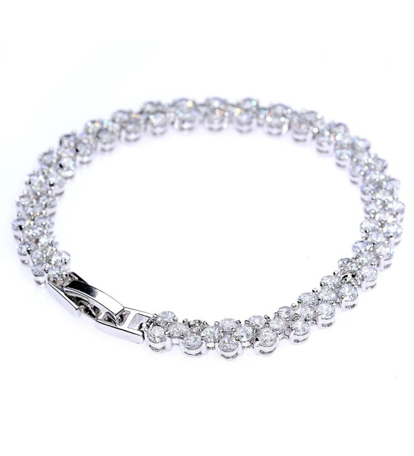 White Gold Plated Zircon Roman Style Fashion Tennis Bracelet for Women - C612G3JBFVL
