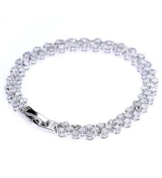 White Gold Plated Zircon Roman Style Fashion Tennis Bracelet for Women - C612G3JBFVL