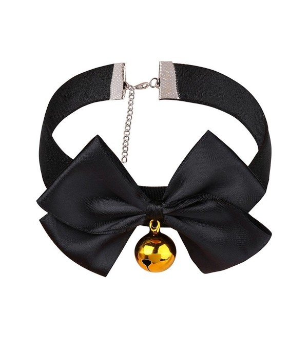 TiaoBug Women's Roleplay Adjustable Soft Ribbon Bow Bell Choker Collar Necklace Black Medium - CN187ES579K