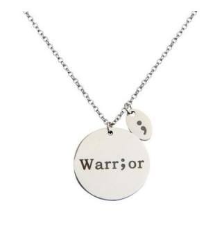 ZUOBAO Hand Stamped Disc Fighter Warrior Semicolon Necklace - Silver Warrior - CR12NRWOKNU