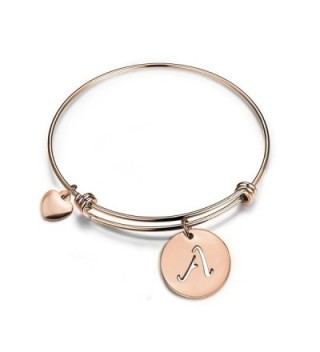 Zuo Bao Rose Gold Initial Disc Expandable Wire Bracelet Bangle with Heart Charm - A - CD185GAZMKW