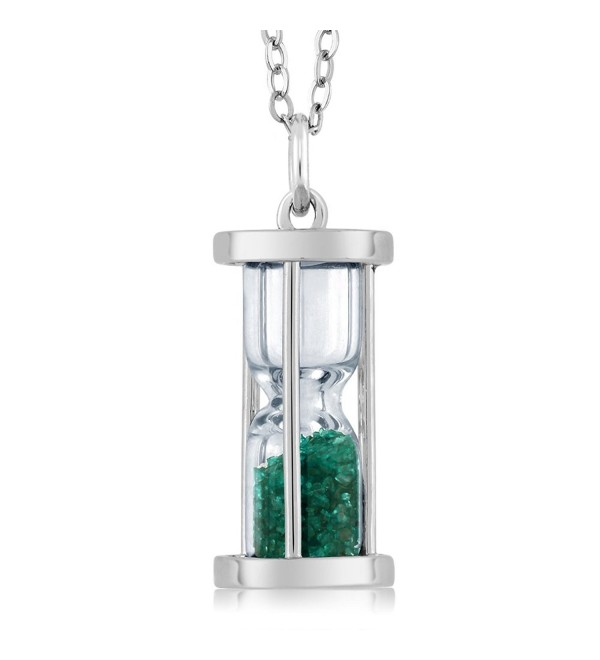 "Sterling Silver Hourglass Pendant with 0.75 Ct Emerald Dust & 18"" Chain - CO11EP8XAWJ"