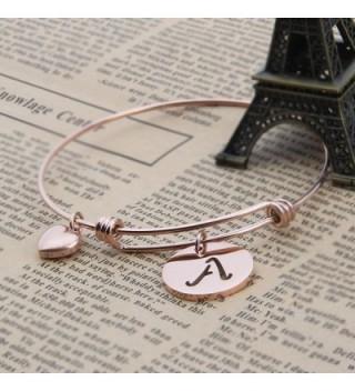 Initial Expandable Bracelet Bangle Heart