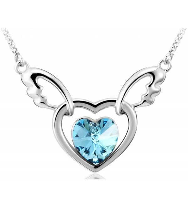 Infinite U Double Hearts Angel Wing Austrian Crystal Silver Plated Women Pendant Necklace - ocean blue - CM11VY5L1PZ