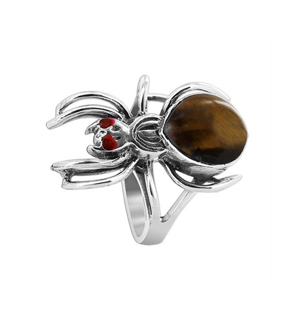 Gem Avenue 925 Sterling Silver Widow Spider with Brown Tiger eye Gemstone Ring - CG11BFQU8QB