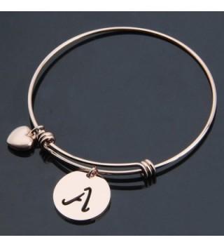 Initial Expandable Bracelet Bangle Heart in Women's Bangle Bracelets