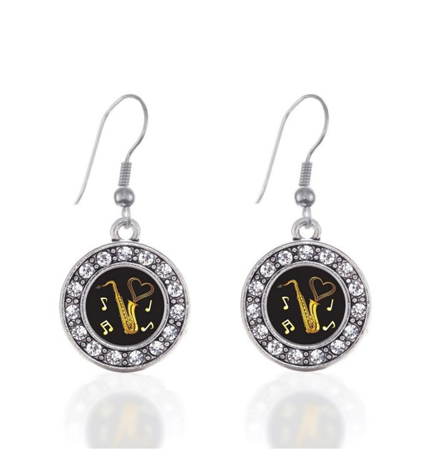 Saxophone Circle Charm Earrings French Hook Clear Crystal Rhinestones - CI124BUVST3