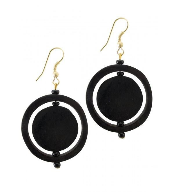 Maisha Beautiful African Fair Trade Up cycled Bovine Dark Brown Horn Circle in Circle Hoop Earrings - C311DHEVGCJ