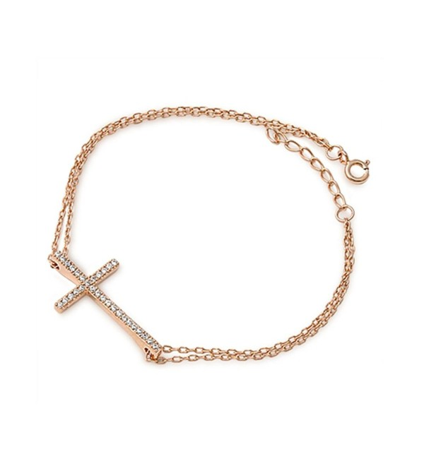 Rose Gold Plated Sideways Cz Cross .925 Sterling Silver Bracelet - CU1297ENHJH