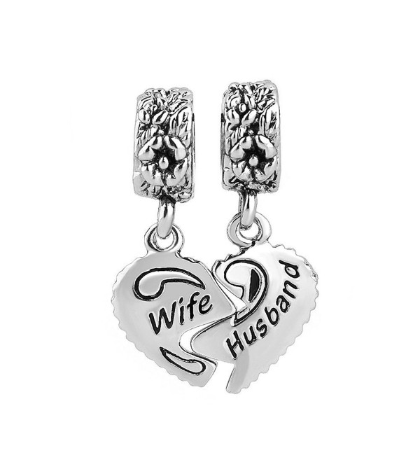 LuckyJewelry Wife Husband Heart Charms Dangle Bead Set Sale For Pandora/Troll/Chamilia Charm Bracelet - CI12N1JRSAP