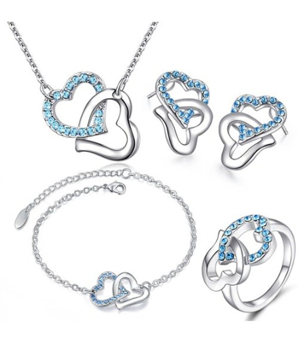 MAFMO Fashion Rhinestone Double Heart Jewelry Set 4pcs Necklace Bracelet Ring Earrings - Sea Blue - C512891FJTF