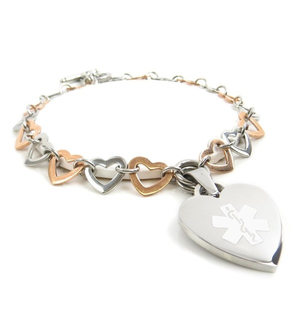 MyIDDr - Pre-Engraved & Customized Women's Coumadin Toggle Medical Charm Bracelet- Rose Steel Hearts - CP11HUXZEF3