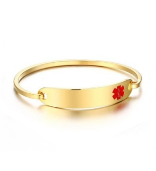 Engraving Stainless Polished Identification Bracelets in Women's Bangle Bracelets