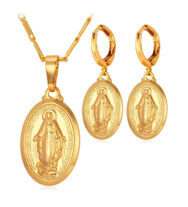 U7 Jewelry Religious Necklace Earrings - gold - CV122JFW65H