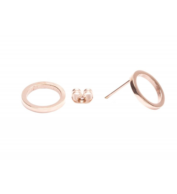 Open Circle Stud Earrings in Rose Gold | Minimalist Round Earrings Titanium - C817YL4N3W9