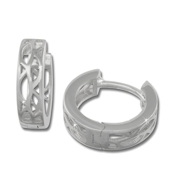 SilberDream earring hoop oval pattern- 925 Sterling Silver SDO3305 - CL11GSSQ7Y3