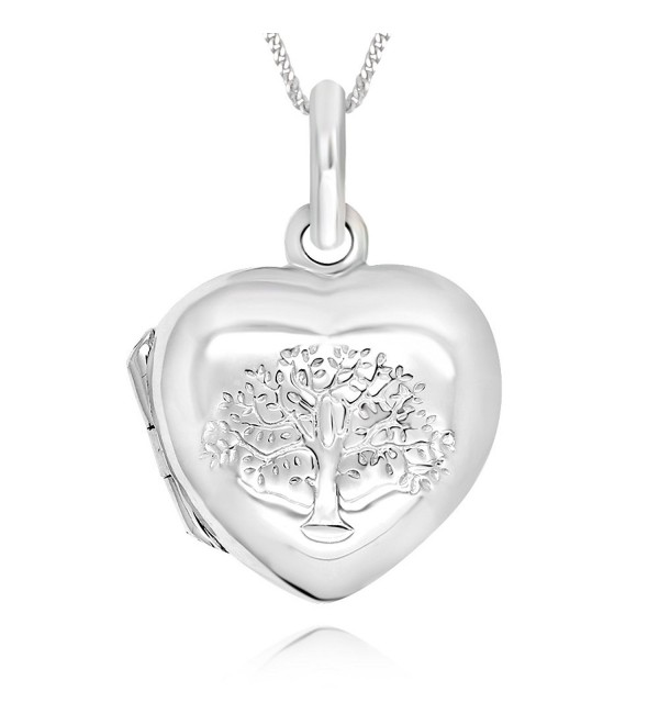 "925 Sterling Silver Tree of Life Heart Locket Necklace- 18"" - C612MXURQ8C"