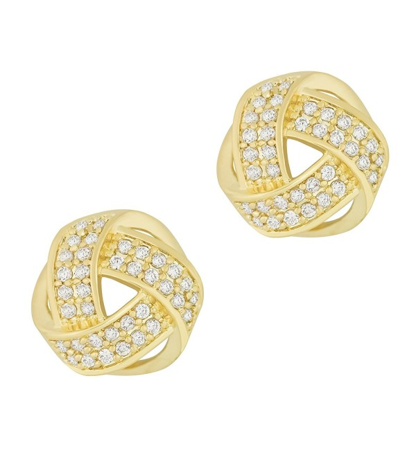 ORROUS & CO Legacy Collection 18K Gold Plated Cubic Zirconia Twisted Love Knot Stud Earrings - C1125YEH3NF
