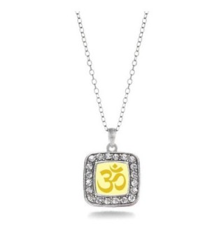 OM Yoga Charm Classic Silver Plated Square Crystal Necklace - C011MCHW7YD