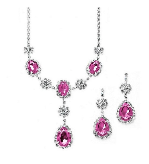 Beautiful Drop Evening Party Lite Pink With Tear Drop Dangle Bridal Bridesmaid Necklace Earring - C7127OL1HT7