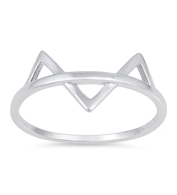 Triangle Cat Ears Animal Fashion Ring New .925 Sterling Silver Band Sizes 4-10 - C617AYZ938K