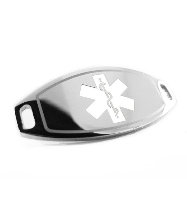 MyIDDr - Pre-Engraved & Customized Steel Diabetic Medical ID- Attachable to Bracelet- White - C4116KGR0Y9