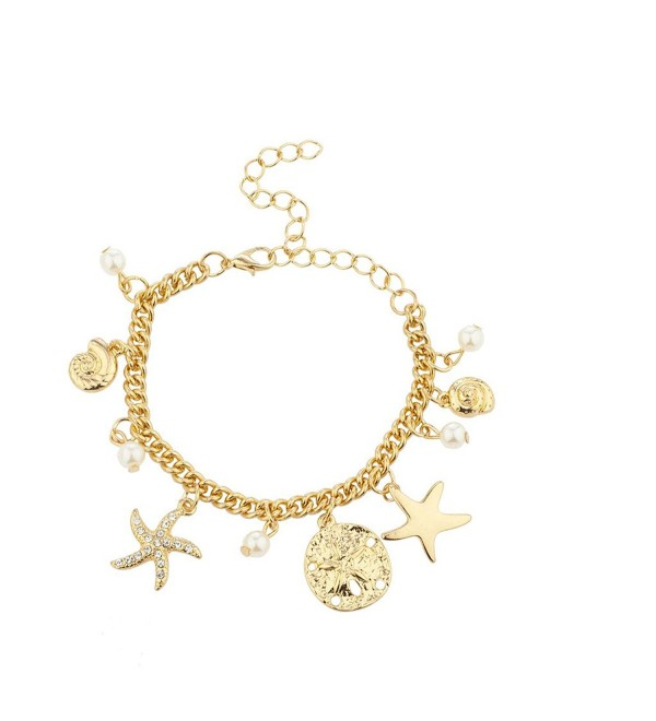 Lux Accessories Goldtone Starfish Seashell imitation Pearl Nautical Charm Bracelet - CL17XXD9IMX