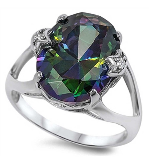 LARGE Royal Vintage French Prong .925 Sterling Silver Simulated Fire Rainbow Topaz Mystic OVAL Ring 5-12 - CQ11E4VQ7KZ