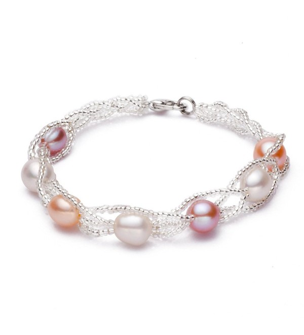 CASOTY Freshwater Cultured Pearl Bracelets Beaded Charm Bracelet for Women Girl (Color Bracelet) - CM128ZK5GNT