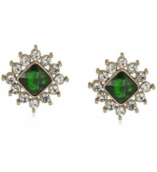 1928 Jewelry Gold-Tone Green Stone and Crystal Button Stud Earrings - CY12LP2XM21