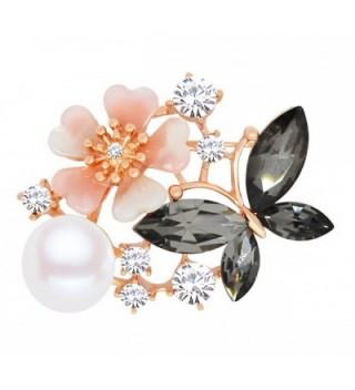 Merdia Women Flowre Bride Cubic Zircon Simulated Pear Brooch for Christmas-New year-Black - CT186YO6XLR