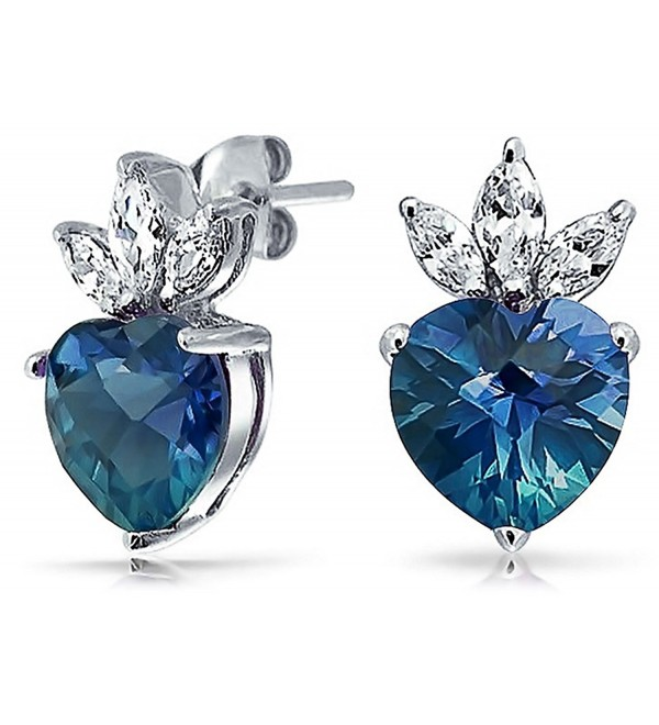 Bling Jewelry Blue Topaz December Birthstone CZ Heart Crown Stud earrings 925 Sterling Silver 15mm - CY11KSK2NJZ