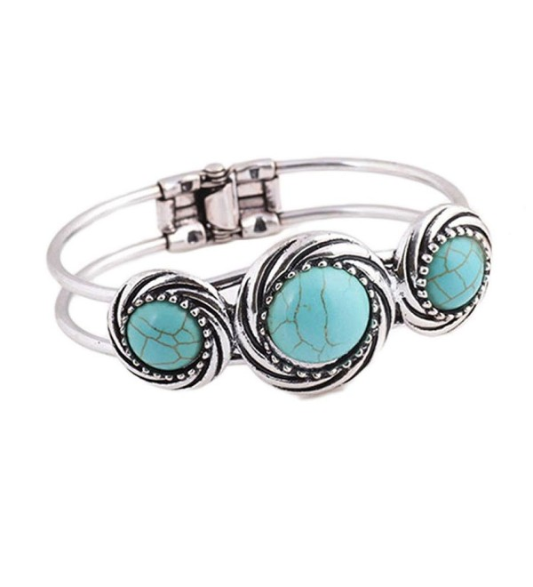 Gillberry Bohemian Style Retro Cute Plating Lady Bracelet Turquoise Circle - Green - CV12H9NQW2H
