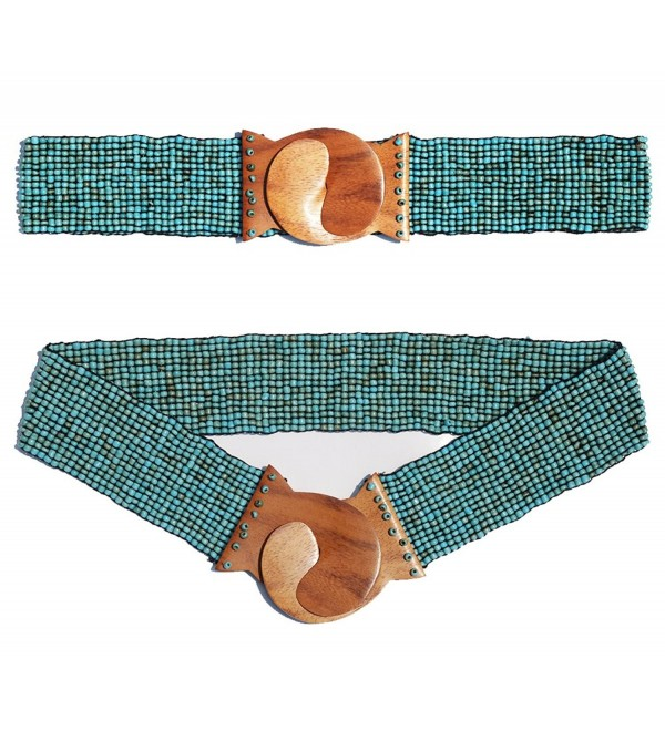 "Antique Turquoise Hand-made Elastic Stretchy Beaded Bali Belt with Wooden Hook Buckle - 2 1/4"" Wide Belt - CP11EW41CMH"