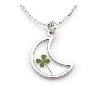 Stainless Steel Real Four Leaf Clover Good Luck Clear Half Moon Pendant Necklace- 16-18 inches - CR11OVBLYZL