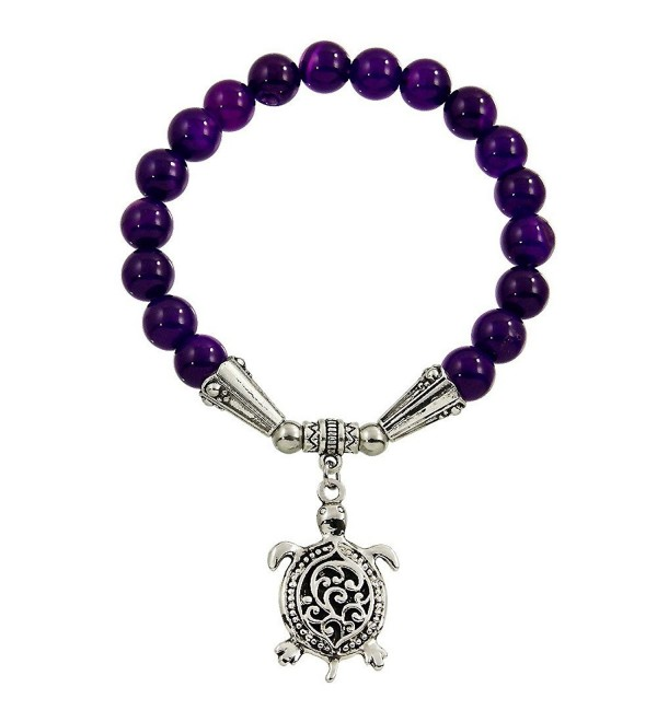 Falari Turtle Lucky Charm Natural Stone Stretch Bracelet (Purple Agate) - CD12F52ARM9