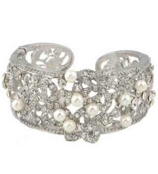 EVER FAITH Austrian Crystal Cream Simulated Pearl Bridal Hibiscus Flower Cuff Bracelet Clear - C111VHXVP5Z