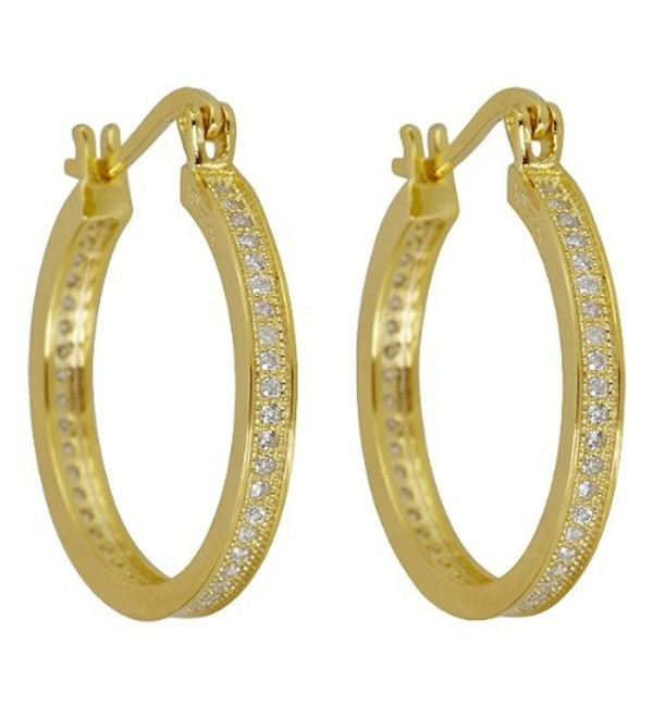 Sterling Silver Cubic Zirconia Micropave Hoops - CD11GN2HLFN