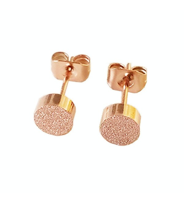 Womens Girls Ear Jewelry Stainless Steel Scrub Tiny Dot Stud Earrings with Gift Box - Rose Gold - C112HB37GTD