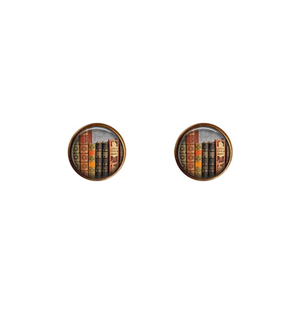 Glass Cabochon Earrings - Vintage Books Stud Earrings -Books jewelry - CB17YE3ARYH